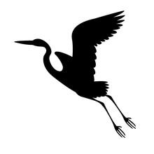 Heron Flying , Vector Illustration ,  Black Silhouette, Profile