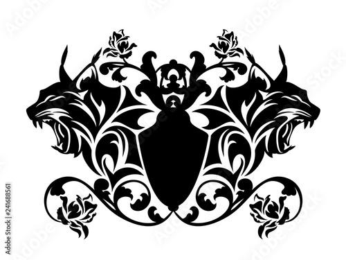 Fototapeta premium vintage heraldyczny styl godło z głową rysia i kwiatami róży - czarno-biały wektor wzór
