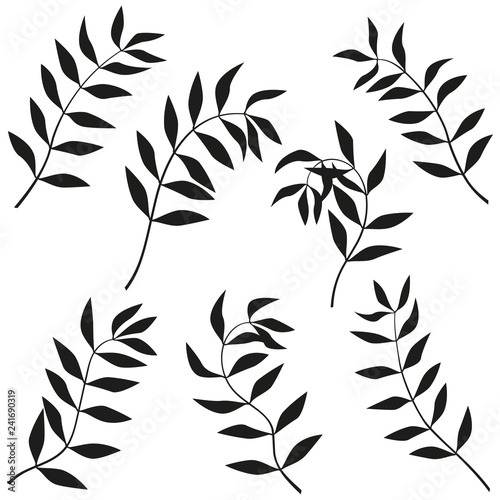 Curved branches. Vector set of twigs. Bending twigs. Wall mural