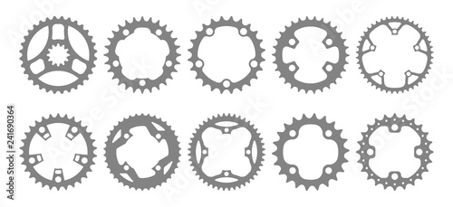 Stampa su Tela Vector set of ten bike chainring silhouettes (chainwheels, sprockets) isolated on white background