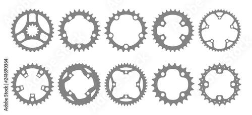 Carta da parati Vector set of ten bike chainring silhouettes (chainwheels, sprockets) isolated on white background