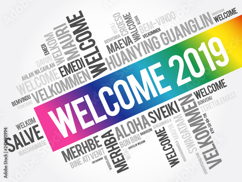 Valokuva  WELCOME 2019 word cloud in different languages, conceptual background
