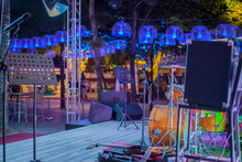 Modern Concert Stage With Musical Instruments, Bright Neon Lights,