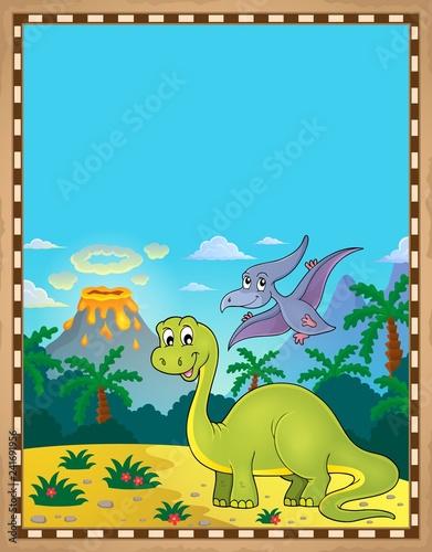 Keuken foto achterwand Voor kinderen Dinosaur theme parchment 1