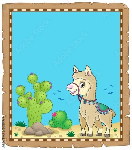 Keuken foto achterwand Voor kinderen Llama theme parchment 1