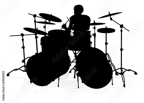 Canvas Print A drummer musician drumming drums in detailed silhouette