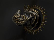 Metal Rhino Head On Black Back...