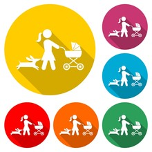 Mother With Baby Carriage Walking With Dog Icon Or Logo, Color Set With Long Shadow