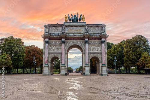Arc de Triomphe du Carrousel at Sunset Canvas-taulu
