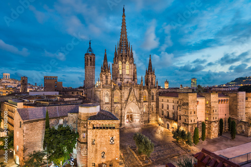 Barcelona night skyline with the gothic Cathedral, Spain