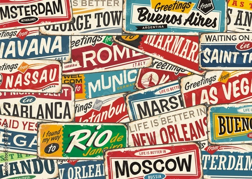Travel pattern with world wide cities and places. Retro colorful playful background with popular touristic destinations.