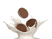 Sandwich Cookies With CMilk Splash, 3d Illustration For Biscuit Package Design.
