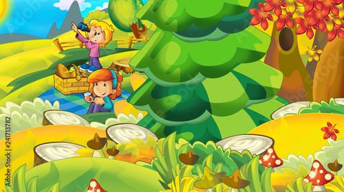 Plakaty do pokoju dziewczynki cartoon-autumn-nature-background-with-forest-and-mountains-illustration-for-children