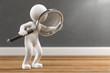 canvas print picture - 3D Illustration weißes Männchen mit Lupe auf Holzboden