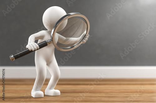 3D Illustration weißes Männchen mit Lupe auf Holzboden Canvas
