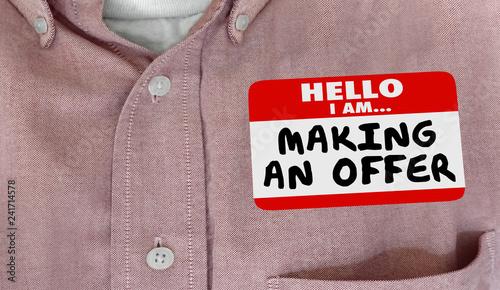 Photo Making an Offer Bidder Hello Name Tag Words 3d Illustration