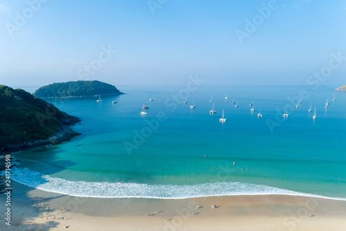 Aerial view drone shot of Nai harn beach Beautiful beach in Phuket Thailand