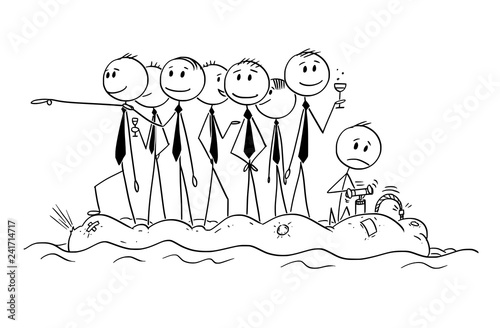 Fototapeta Cartoon stick man drawing conceptual illustration of group of unworried reckless businessman or politicians on old unstable inflatable rubber boat