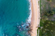 Top view landscape of Beautiful tropical sea in summer season image by Aerial view drone shot, high angle view