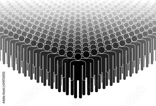 Crowd. People standing in a crowd. Human silhouettes. Black and white. Vector illustration. - 241720512