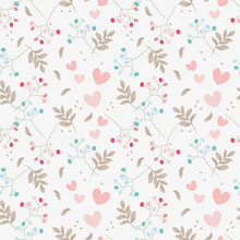 Sweet Floral And Tiny Hearts Seamless Pattern.