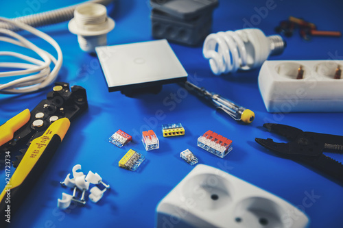 Electrical Installation Electrician Tools And Equipment On Blue Background Buy This Stock Photo And Explore Similar Images At Adobe Stock Adobe Stock