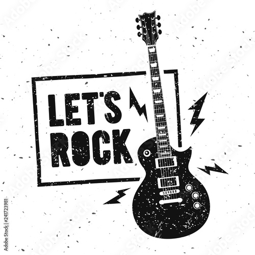 Fototapeta Vector Illustration Lets Rock Music Print Graphic Design with Guitar
