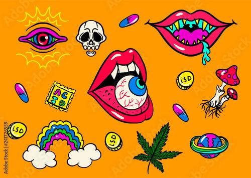 Photo  psychedelic trip symbols : LSD, weed, skull, eyeball, rainbow, drugs