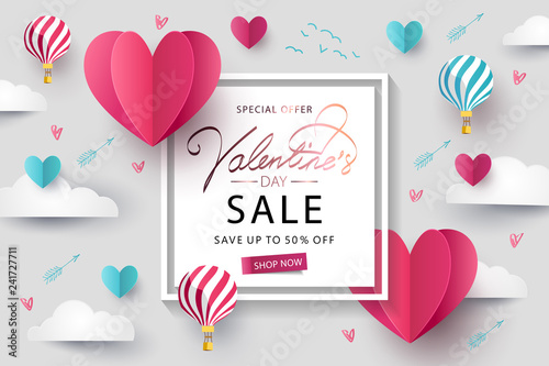 Obraz Happy Valentines Day Sale background. Banner, poster or flyer design with flying Origami Hearts over clouds with air balloons in the sky. Paper art, digital craft style. Vector illustration - fototapety do salonu