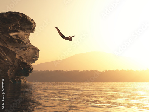 Athlete jumps into a lake