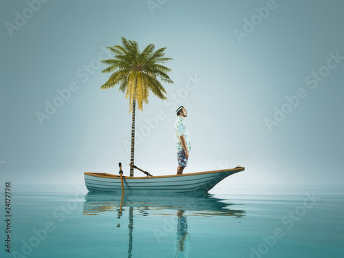 Foto Young man and a palm tree standing in a boat, in the middle of ocean