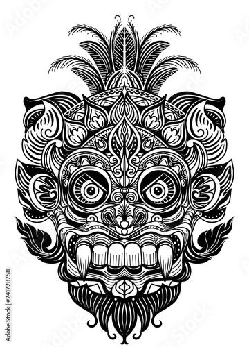 701237ae280ab Hand drawn illustration. Ornamental element. tattoo devil mask , Warrior  Tribal Mask Vector illustration