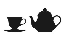 Teapot And Cup Isolated On Whi...