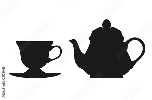 Fotografie, Obraz Teapot and cup isolated on white background