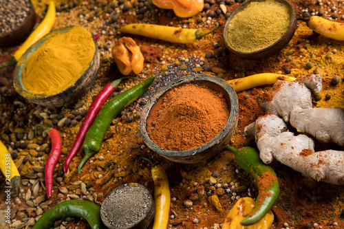 Foto op Canvas Aromatische Variety of spices and herbs on kitchen table