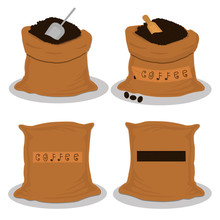 Illustration Logo On Theme Big Colored Set Different Types Sack