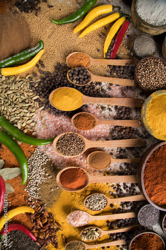 Foto op Canvas Aromatische Assortment of spices in wooden bowl background