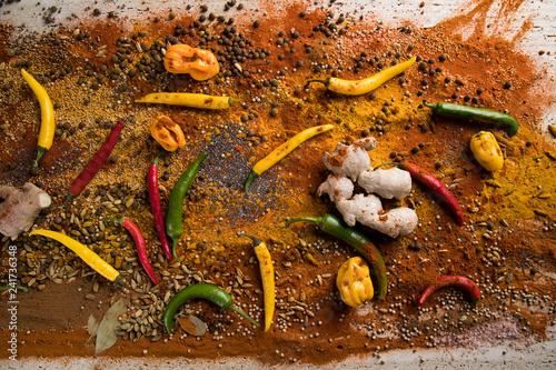 Foto op Aluminium Aromatische Aromatic spices on wooden background