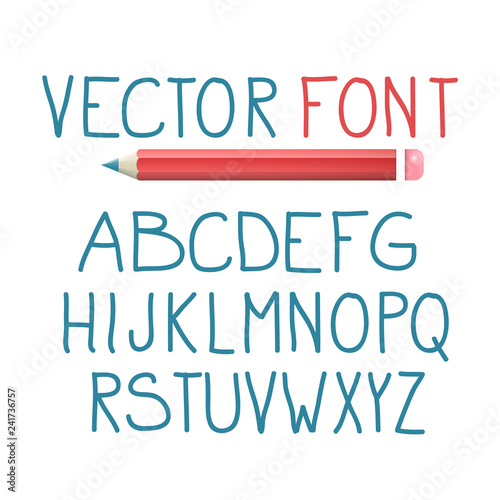 Vector Font with Pencil  Alphabet Typography Design  - Buy this