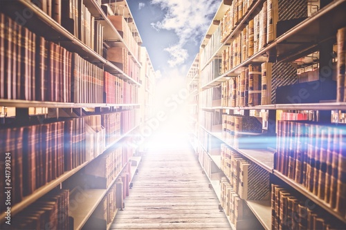 Composite image of close up of a bookshelf Wallpaper Mural
