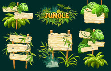 Set Old Wooden Boards Decorated Leaves Liana. Cartoon Game Panels In Jungle Style On Dark Background. Isolated 3d Vector Illustration.