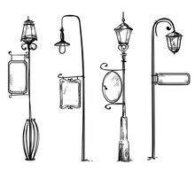 Street Lamps With Information Signs, Vector Illustration