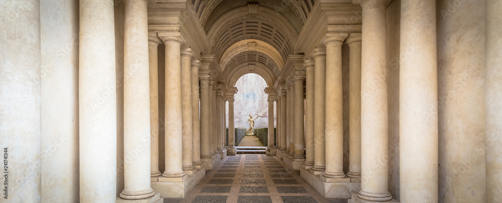 Fototapeta Luxury palace with marble columns in Rome