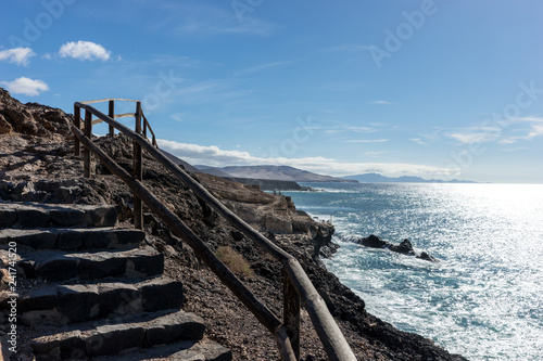 Stairway in Ajuy Fuerteventura. Canary Islands. Spain