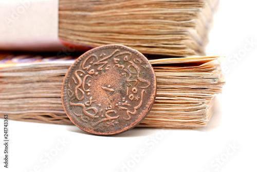 Fotografía  old ottoman coin and paper banknotes