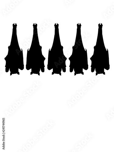Fotografie, Obraz  viele team freunde gruppe hängende fledermaus silhouette kopfüber decke oben sch