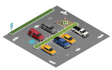 Transport Parking Isometric Composition