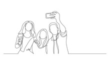 Group Of Happy Young Friends Making Selfie - One Line Drawing