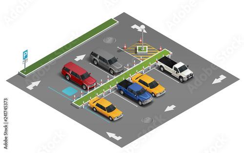 Obraz Transport Parking Isometric Composition  - fototapety do salonu