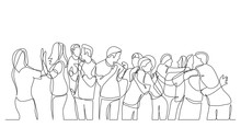 Large Team Of Friends Cheering And Celebrating Success - One Line Drawing
